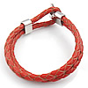 Fashion Leather Cord Stainless Steel Clasp Bracelets, braided design, red color, 316 stainless steel with cow leather, fashion bracelet for ladies, 5mm, Sold per 7.5~9-Inch Strand