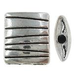 Beads aliazh zink Flat, Alloy zink, Drejtkëndësh, Ngjyra antike argjendi praruar, asnjë, , nikel çojë \x26amp; kadmium falas, 9x10x3.50mm, : 0.5mm, 833PC/KG,  KG