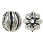 Beads bizhuteri Alloy zink, Oval, Ngjyra antike argjendi praruar, corrugated, asnjë, , nikel çojë \x26amp; kadmium falas, 9x9mm, : 2mm, 476PC/KG,  KG