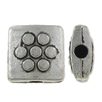 Beads bizhuteri Alloy zink, Katror, Ngjyra antike argjendi praruar, asnjë, , nikel çojë \x26amp; kadmium falas, 8x8x3.50mm, : 0.5mm, 1111PC/KG,  KG