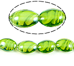 Inner Beads Lampwork Twist, Oval, e gjelbër, 18x25x10mm, : 2mm, 100PC/Qese,  Qese