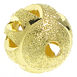 Messing Sternenstaub Perlen, rund, goldfarben plattiert, hohl & Falten, frei von Nickel, Blei & Kadmium, 10mm, Bohrung:ca. 2mm, 300PCs/Tasche, verkauft von Tasche