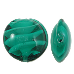 Inner Beads Lampwork Twist, Round Flat, e gjelbër, 15x8mm, : 2mm, 100PC/Qese,  Qese
