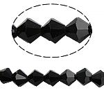 Doppelkegel Kristallperlen, Kristall, facettierte, Jet schwarz, 6x6mm, Bohrung:ca. 0.8-1.2mm, Länge:10.5 ZollInch, 10SträngeStrang/Tasche, verkauft von Tasche