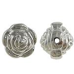 Verkupfertes Kunststoff-Perlen, Verkupferter Kunststoff, Blume, Platinfarbe platiniert, frei von Nickel, Blei & Kadmium, 15x13mm, Bohrung:ca. 2mm, 5Taschen/Menge, 200/Tasche, verkauft von Menge