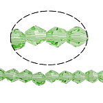Doppelkegel Kristallperlen, Kristall, facettierte, Peridot, 5x5mm, Bohrung:ca. 0.5mm, Länge:11.5 ZollInch, 10SträngeStrang/Tasche, verkauft von Tasche