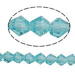 Doppelkegel Kristallperlen, Kristall, facettierte, heller Saphir, 5x5mm, Bohrung:ca. 0.8-1.2mm, Länge:11.5 ZollInch, 10SträngeStrang/Tasche, verkauft von Tasche