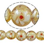 Goldsand Lampwork Perlen, flache Runde, 15x12.50mm, Bohrung:ca. 1.5mm, Länge:14 ZollInch, 5SträngeStrang/Tasche, verkauft von Tasche