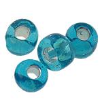 Silbereinzug Glas Rocailles, Glas-Rocailles, rund, blau, 3x3.60mm, Bohrung:ca. 0.3mm, ca. 7500PCs/Tasche, verkauft von Tasche