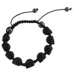 Shamballa Bracelets gur i çmuar, Bruz Natyrore, with Cord Wax & Jo-magnetike kuqe e mbylltë, Kafkë, e zezë, 16x17mm, :8Inç,  8Inç,