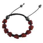Shamballa Bracelets gur i çmuar, Bruz Natyrore, with Cord Wax & Jo-magnetike kuqe e mbylltë, Kafkë, 9x12x11mm, :6.5Inç,  6.5Inç,