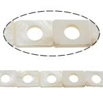 Beads Natyrore White Shell, Drejtkëndësh, asnjë, e bardhë, 15x20x3mm, : 2mm, :15.5Inç,  15.5Inç,