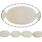 Beads Natyrore White Shell, Oval Flat, asnjë, e bardhë, 20x30x3mm, : 2mm, :15.5Inç,  15.5Inç,