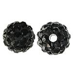 Strass Ton befestigte Perlen, rund, mit 50 Stück Strass & mit Strass von Klasse A, Jet schwarz, 6mm, Bohrung:ca. 1.5mm, 10PCs/Tasche, verkauft von Tasche
