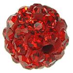 Strass Ton befestigte Perlen, rund, mit 50 Stück Strass & mit Strass von Klasse A, Hyazinth, 6mm, Bohrung:ca. 1.5mm, 10PCs/Tasche, verkauft von Tasche