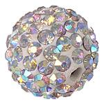 Diamant i rremë balta Beads hapë, Argjilë, Round, asnjë, me diamant i rremë, 12mm, : 2mm, 10PC/Qese,  Qese