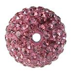 Diamant i rremë balta Beads hapë, Argjilë, Round, asnjë, me diamant i rremë, Trëndafil, 8mm, : 2mm, 20PC/Qese,  Qese