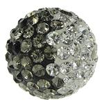 Diamant i rremë balta Beads hapë, Argjilë, Round, asnjë, me diamant i rremë, 14mm, : 2mm, 5PC/Qese,  Qese