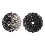 Diamant i rremë balta Beads hapë, Argjilë, Round, asnjë, me diamant i rremë, 10mm, : 2mm, 10PC/Qese,  Qese