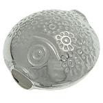 925 Sterling Silver Beads, Peshk, argjend praruar vërtetë, 12.30x12.50x7.80mm, : 3.2mm, 5PC/Qese,  Qese