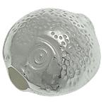 925 Sterling Silver Beads, Peshk, argjend praruar vërtetë, 8.20x8.40x6mm, : 2mm, 10PC/Qese,  Qese