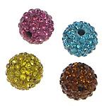 Strass Ton befestigte Perlen, Lehm pflastern, rund, mit 41 Stück Strass, gemischte Farben, 6mm, Bohrung:ca. 2mm, 20PCs/Tasche, verkauft von Tasche