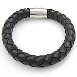 Rindsleder Armband, Kuhhaut, Edelstahl Verschluss, schwarz, 11mm, 20x10mm, verkauft per ca. 8.5 ZollInch Strang
