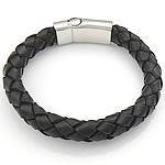 Rindsleder Armband, Kuhhaut, Edelstahl Magnetverschluss, schwarz, 11.5mm, 33x14mm, verkauft per ca. 8.5 ZollInch Strang
