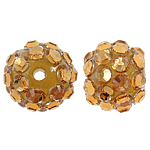 Beads diamant i rremë Rrëshirë, Rrëshirë diamant i rremë, Round, asnjë, me diamant i rremë, 12x14mm, : 3mm, 100PC/Qese,  Qese