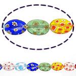 Millefiori Glass Beads, Oval, ngjyra të përziera, 18x13x4mm, :15Inç, 10Fillesat/Shumë,  Shumë