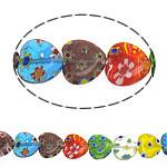 Millefiori Glass Beads, Zemër, ngjyra të përziera, 10x10x4mm, :14.5Inç, 10Fillesat/Shumë,  Shumë