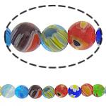Millefiori Glass Beads, Round, ngjyra të përziera, 8mm, :15Inç, 10Fillesat/Shumë,  Shumë