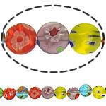 Millefiori Glass Beads, Round Flat, ngjyra të përziera, 14x3mm, :14.5Inç, 10Fillesat/Shumë,  Shumë