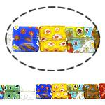 Millefiori Glass Beads, Drejtkëndësh, ngjyra të përziera, 12x12x4mm, :16Inç, 10Fillesat/Shumë,  Shumë