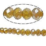 Rondelle Beads Crystal, Kristal, imitim kristal Swarovski, Champagne Gold, 8x10mm, : 2mm, :22Inç, 10Fillesat/Qese,  Qese