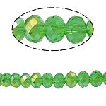 Rondelle Beads Crystal, Kristal, imitim kristal Swarovski, Gjelbër fier, 8x10mm, : 2mm, :22Inç, 10Fillesat/Qese,  Qese