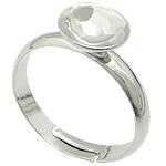 Bezel Brass Ring Base, Tunxh, ngjyrë platin praruar, asnjë, , nikel çojë \x26amp; kadmium falas, 8x8mm, : 17mm, :7, 400PC/Qese,  Qese