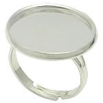 Bezel Brass Ring Base, Tunxh, Ngjyra argjend praruar, asnjë, , nikel çojë \x26amp; kadmium falas, 20x20mm, 18x18mm, : 17mm, : 18mm, :7, 200PC/Qese,  Qese