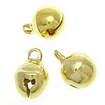 Tunxh Bell varëse, ngjyrë ari praruar, asnjë, , nikel çojë \x26amp; kadmium falas, 7.50x10.50mm, : 2mm, 2000PC/Qese,  Qese