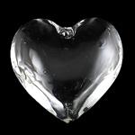 KRISTALLanhänger, Kristall, flacher Herz, Kristall, 43x15mm, Bohrung:ca. 2mm, verkauft von PC
