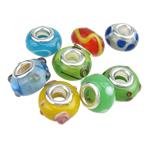Lampwork Style European, Rondelle, core argjendi i pastër me dy pa karrem, (8x13)-(9x14)mm, : 5mm, 100PC/Qese,  Qese