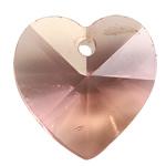 Crystal Pendants, Kristal, Zemër, Lt Peach, 14x8mm, : 1mm, 10PC/Qese,  Qese