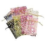 Drawstring çanta bizhuteri, Organza, shtypje, i tejdukshëm, ngjyra të përziera, 100x140mm, 100PC/Qese,  Qese