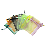 Drawstring çanta bizhuteri, Organza, i tejdukshëm, ngjyra të përziera, 130x180mm, 100PC/Qese,  Qese