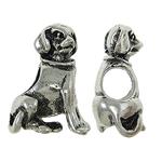Zink Legierung Europa Perlen, Zinklegierung, Hund, ohne troll, frei von Nickel, Blei & Kadmium, 12x15x7mm, Bohrung:ca. 5x4.5mm, 10PCs/Tasche, verkauft von Tasche