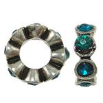 Beads Zink Alloy Spacer, Alloy zink, Lule, me diamant i rremë, , nikel çojë \x26amp; kadmium falas, 12x4mm, : 6mm, 10PC/Qese,  Qese