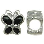 Beads European aliazh zink, Alloy zink, Flutur, asnjë, pa karrem & smalt, e zezë, , nikel çojë \x26amp; kadmium falas, 9x9.50x6mm, : 4.5mm, 10PC/Qese,  Qese