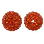 Harz Perlen Strass, rund, mit Strass, Hyazinth, 12x12mm, Bohrung:ca. 1mm, 10PCs/Tasche, verkauft von Tasche