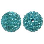 Rrëshirë Beads diamant i rremë, Round, asnjë, me diamant i rremë, Akuamarin, 12x12mm, : 1mm, 10PC/Qese,  Qese