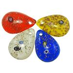 Rërë Pendants Gold Lampwork, Lot, ngjyra të përziera, 31x44x12mm, : 4.5mm, 12PC/Kuti,  Kuti